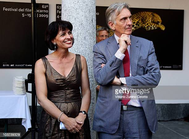 Doris Leuthard and Marco Solari attend the 63rd Locarno Film Festival Opening Cocktail on August 4 2010 in Locarno Switzerland