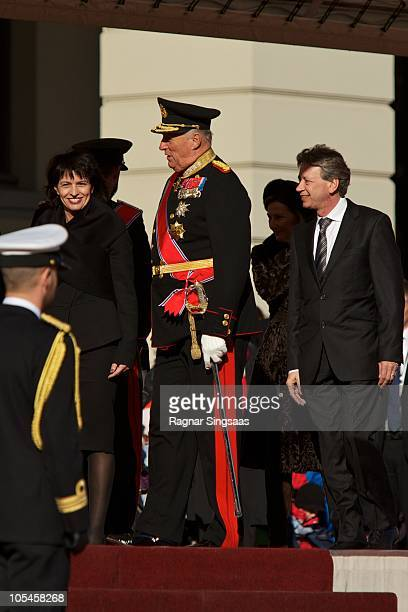 Doris Leuthard King Harald V of Norway and Roland Hausin attend a welcoming ceremony for the President of the Swiss Confederation Her Excellency Ms...