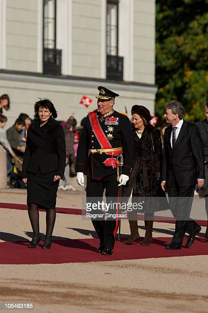 Doris Leuthard King Harald V of Norway Queen Sonja of Norway and Roland Hausin attend a welcoming ceremony for the President of the Swiss...