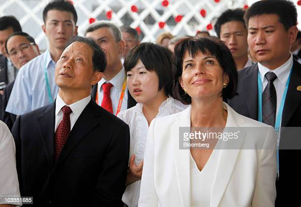 Doris Leuthard president of the Swiss Confederation right and Wu Dingfu chairman of the China Insurance Regulatory Commission tour the Switzerland...