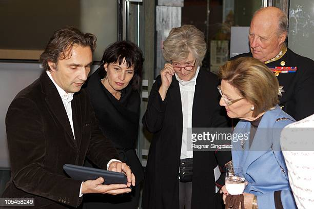 Doris Leuthard Queen Sonja of Norway and King Harald V of Norway visit the Swiss Design Exhibition at 'The Norwegian Centre for Design and...