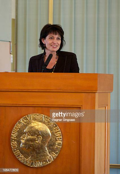 Doris Leuthard speaks at the Norwegian Nobel Institute during a visit by Her Excellency Ms Doris Leuthard and Dr Roland Hausin on October 15 2010 in...
