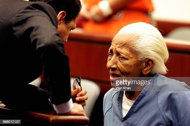 Doris Marie Payne right talks her attorneys Gretchen Christina von Helms and Guadalupe Valencia at arraignment in Indio court on November 2013 Payne...