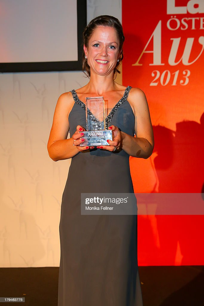 Doris Povse receives an award during the Leading Ladies Awards 2013 at Belvedere Palace on September 3, 2013 in Vienna, Austria.