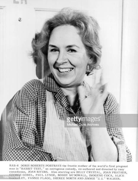 Doris Roberts smiles and waves on set of the film 'Rabbit Test' 1978