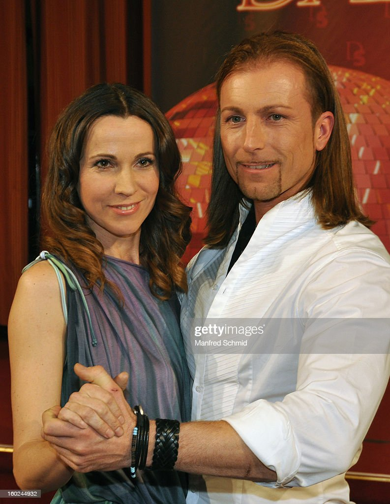 Doris Schretzmayer and Gerhard Egger are presented as dance partner at a press conference during the eighth season of TV show 'ORF Dancing Stars 2013' on January 28, 2013 in Vienna, Austria.