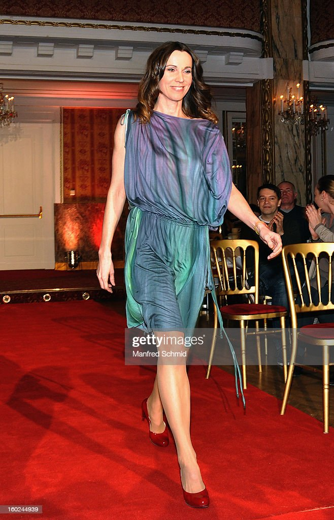 Doris Schretzmayer is presented as a contestant at a press conference during the eighth season of TV show 'ORF Dancing Stars 2013' on January 28, 2013 in Vienna, Austria.