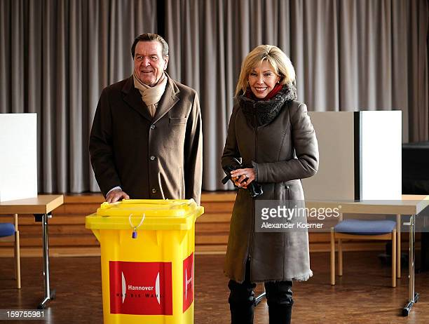 Doris SchroederKoepf wife of former German Chancellor Gerhard Schroeder and local candidate of the German Social Democrats arrives together with her...