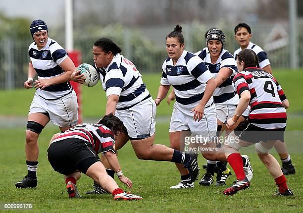 Doris Taufateau of Auckland Storm is tackled by Captain Arihiana Marino of Counties Manukau Heat at the Auckland Storm v CountiesManukau Round 7...