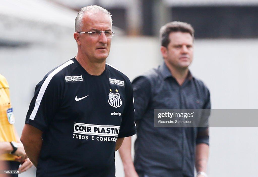 Dorival Junior coach of Santos and Argel Fucks head coach of Internacional in action during the match between Santos and Internacional for the...