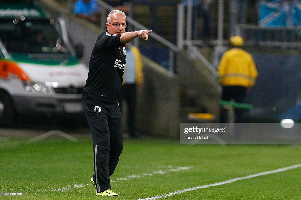 Dorival Junior coach of Santos during the match Gremio v Santos as part of Brasileirao Series A 2015 at Arena do Gremio on October 15 2015 in Porto...