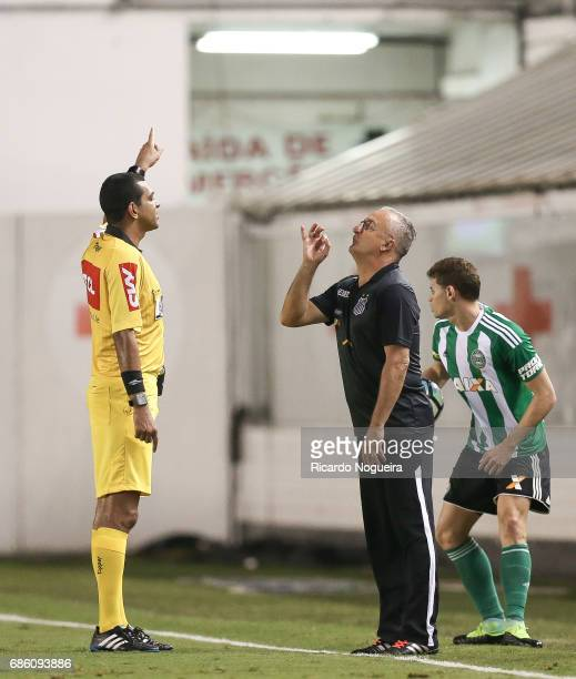 Dorival Junior headcoach of Santos is expelled by the referee Wagner Magalhaes during a match between Santos and Coritiba as a part of Campeonato...