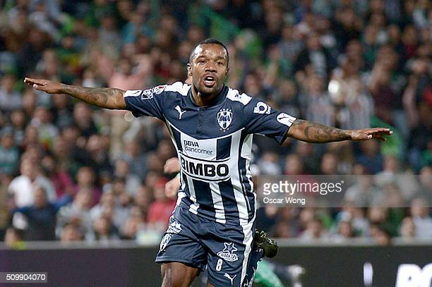 Dorlan Pabon celebrates after scoring his team's first goal during a 6th round match between Santos Laguna and Monterrey as part of the Clausura 2016...