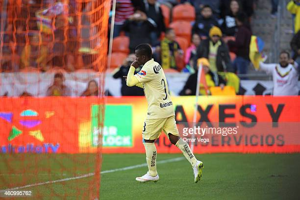 Dorlan Pabon of America celebrates after scoring his team's second goal during a friendly match between America and Monterrey at BBVA Compass Stadium...