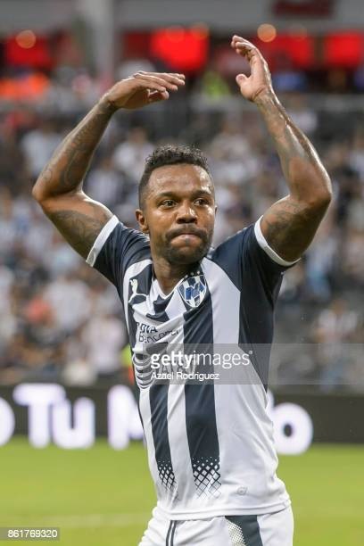 Dorlan Pabon of Monterrey celebrates after his teammate Rogelio Funes Mori scored the first goal of his team during the 13th round match between...