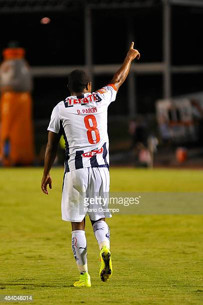 Dorlan Pabon of Monterrey celebrates after scoring during a match between Monterrey and Puebla as part of 6th round Apertura 2014 Liga MX at...