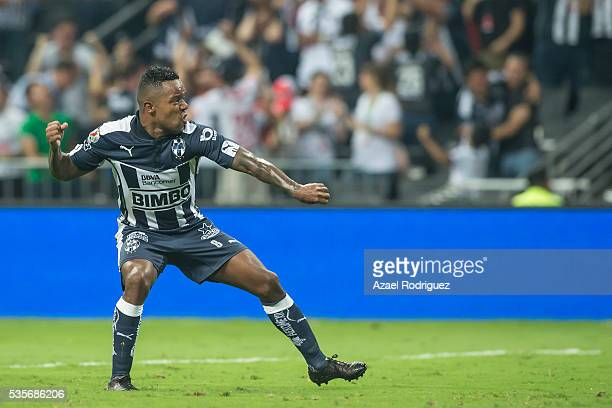 Dorlan Pabon of Monterrey celebrates after scoring his team's first goal during the Final second leg match between Monterrey and Pachuca as part of...