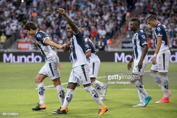 Dorlan Pabon of Monterrey celebrates after scoring his team's third goal during the 4th round match between Monterrey and Chivas as part of the...