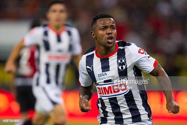 Dorlan Pabon of Monterrey celebrates after scoring the first goal of his team during a quarterfinal second leg match between Atlas and Monterrey as...