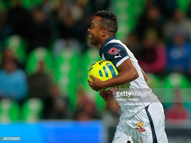 Dorlan Pabon of Monterrey celebrates after scoring the first goal of his team during a match between Santos Laguna and Monterrey as part of 3rd round...