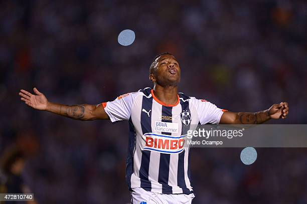 Dorlan Pabon of Monterrey celebrates after scoring the first goal of his team during a match between Monterrey and Pumas UNAM as part of 17th round...