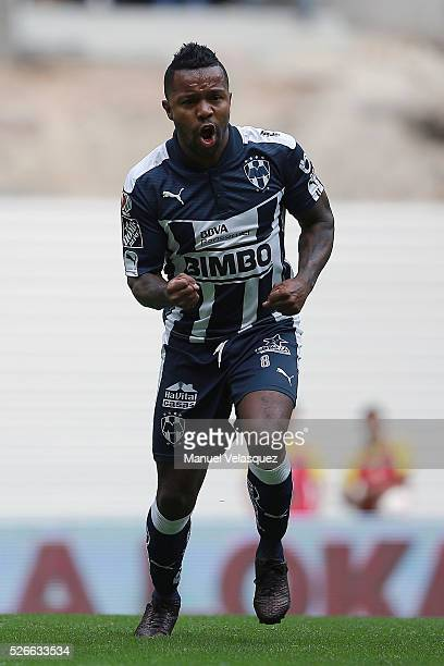 Dorlan Pabon of Monterrey celebrates after scoring the first goal of his team during the 16th round match between America and Monterrey as part of...