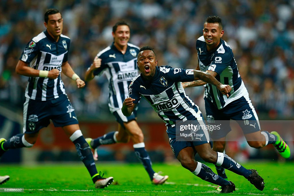 Dorlan Pab—on of Monterrey celebrates after scoring the first goal during the Final second leg match between Monterrey and Pachuca as part of the...