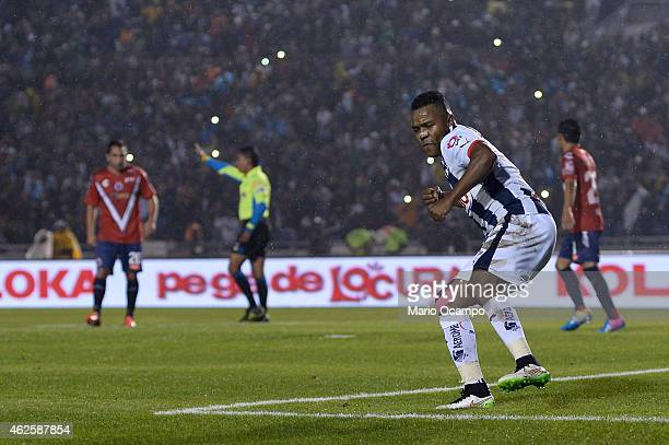 Dorlan Pabon of Monterrey celebrates after scoring the first goal via penalty during a match between Monterrey and Veracruz as part of 4th round...