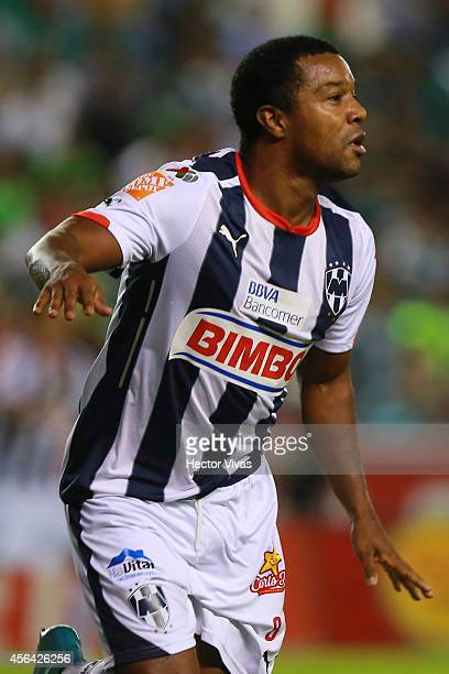 Dorlan Pabon of Monterrey celebrates after scoring the third goal of his team during a match between Leon and Monterrey as part of 11th round...