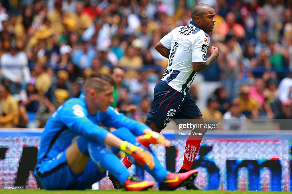 Dorlan Pabon of Monterrey celebrates after scoring the third goal of his team during the 6th round match between Pumas UNAM and Monterrey as part of...