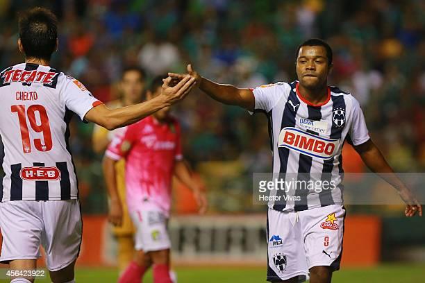 Dorlan Pabon of Monterrey celebrates during a match between Leon and Monterrey as part of 11th round Apertura 2014 Liga MX at Leon Stadium on...