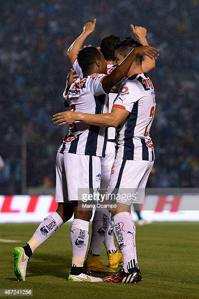 Dorlan Pabon of Monterrey celebrates with his teammates after scoring his team's first goal during a match between Monterrey and Leon as part of 11th...