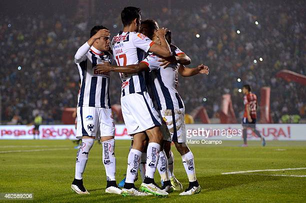 Dorlan Pabon of Monterrey celebrates with teammates after scoring a penalty during a match between Monterrey and Veracruz as part of 4th round...