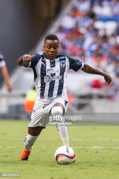 Dorlan Pabon of Monterrey controls the ball during the 4th round match between Monterrey and Chivas as part of the Torneo Apertura 2017 Liga MX at...