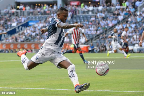 Dorlan Pabon of Monterrey kicks the ball during the 4th round match between Monterrey and Chivas as part of the Torneo Apertura 2017 Liga MX at BBVA...