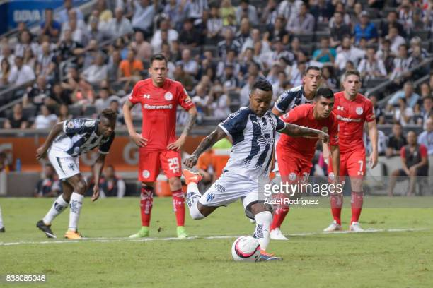 Dorlan Pabon of Monterrey takes a penalty kick during the 6th round match between Monterrey and Toluca as part of the Torneo Apertura 2017 Liga MX at...