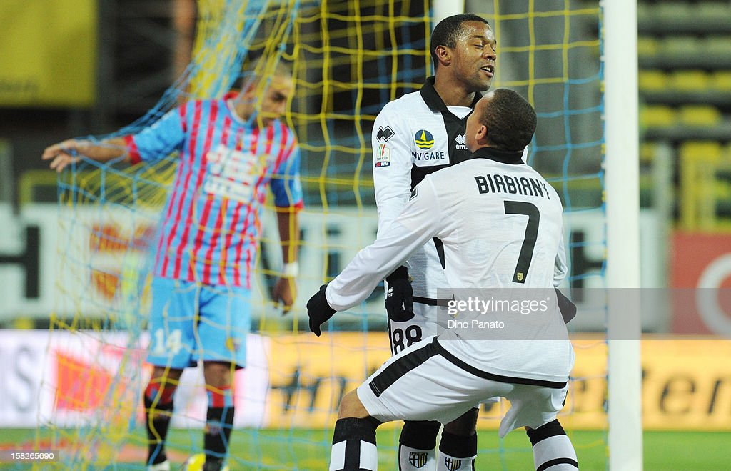 Dorlan Pabon of Parma FC celebrate after scoring his opening goal during the TIM Cup match between Parma FC and Catania Calcio at Stadio Ennio Tardini on December 12, 2012 in Parma, Italy.