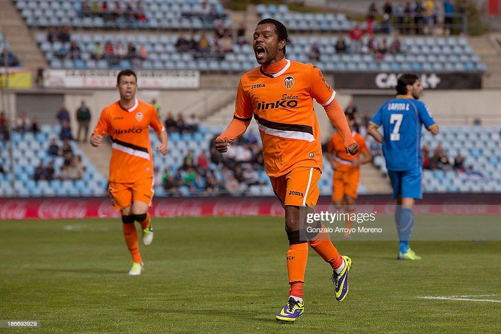 Dorlan Pabon of Valencia CF celebrates scoring their opening goal during the La Liga match between Getafe CF and Valencia CF at Coliseum Alfonso...
