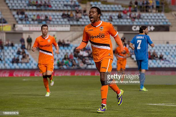 Dorlan Pabon of Valencia CF celebrates scoring their opening goal during the La Liga match between Getafe CF and Valencia CF at Coliseum Alfonso...