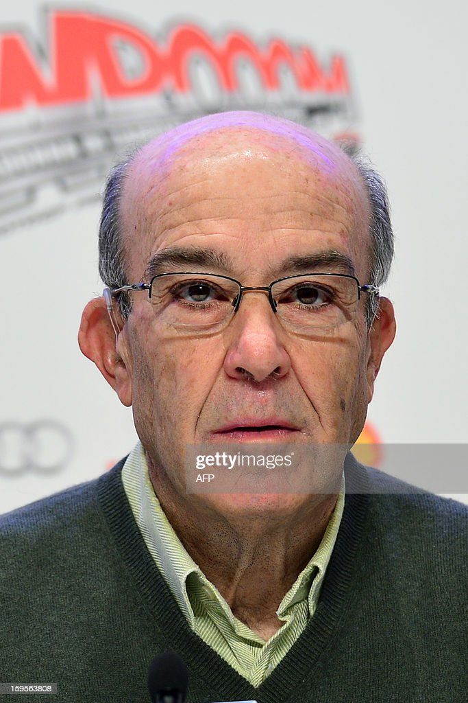Dorna CEO Carmelo Ezpeleta attends a press conference during the Wrooom, F1 and MotoGP Press Ski Meeting, Ducati and Ferrari's annual media gathering, in Madonna di Campiglio on January 16, 2013. AFP/ GIUSEPPE CACACE