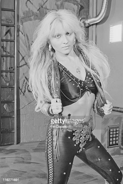 Doro Pesch singer with German heavy metal band Warlock poses for a portrait at Rufus Street Studios on Rufus Street London England Great Britain in...