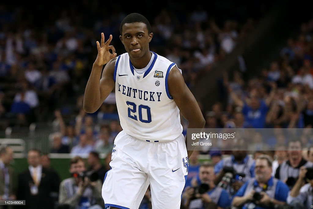 Doron Lamb of the Kentucky Wildcats reacts after making a threepointer in the first half against the Kansas Jayhawks in the National Championship...