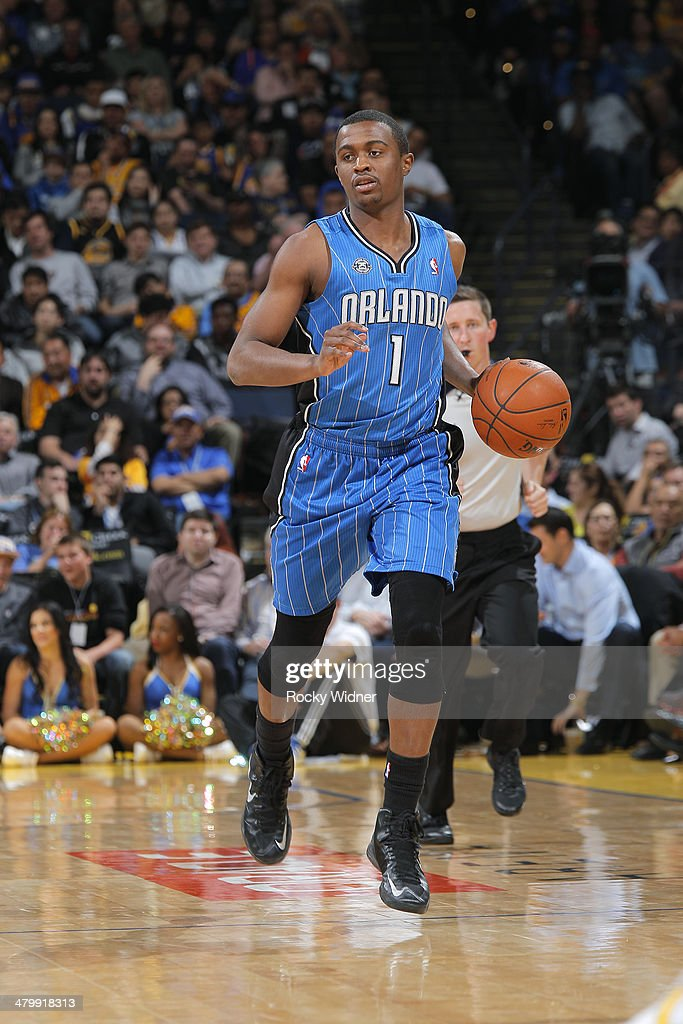 <a gi-track='captionPersonalityLinkClicked' href=/galleries/search?phrase=Doron+Lamb&family=editorial&specificpeople=7143029 ng-click='$event.stopPropagation()'>Doron Lamb</a> #1 of the Orlando Magic dribbles against the Golden State Warriors on March 18, 2014 at Oracle Arena in Oakland, California.