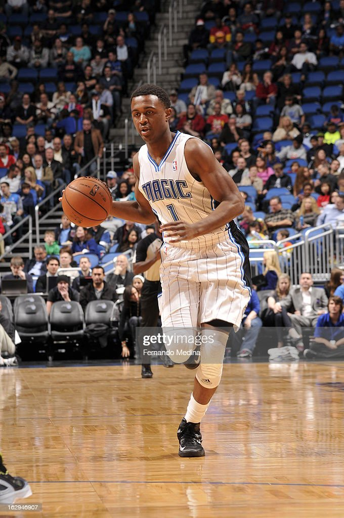 Doron Lamb #1 of the Orlando Magic dribbles the ball up the court looking to pass against the Houston Rockets during the game on March 1, 2013 at Amway Center in Orlando, Florida.
