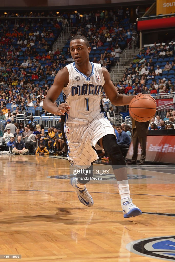 <a gi-track='captionPersonalityLinkClicked' href=/galleries/search?phrase=Doron+Lamb&family=editorial&specificpeople=7143029 ng-click='$event.stopPropagation()'>Doron Lamb</a> #1 of the Orlando Magic drives against the Indiana Pacers on April 16, 2014 at Amway Center in Orlando, Florida.