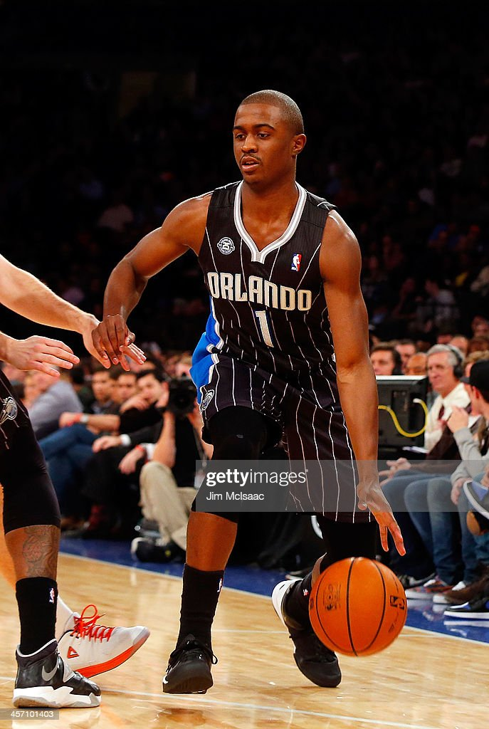 <a gi-track='captionPersonalityLinkClicked' href=/galleries/search?phrase=Doron+Lamb&family=editorial&specificpeople=7143029 ng-click='$event.stopPropagation()'>Doron Lamb</a> #1 of the Orlando Magic in action against the New York Knicks at Madison Square Garden on December 6, 2013 in New York City. The Knicks defeated the Magic 121-83.