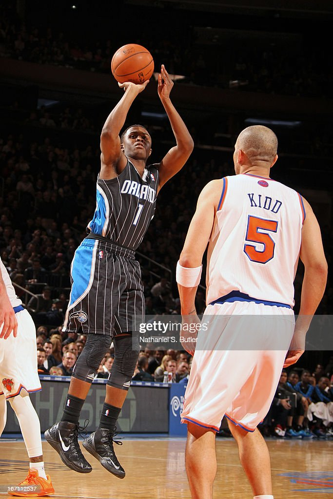 Doron Lamb #1 of the Orlando Magic shoots a jumper against the New York Knicks on March 20, 2013 at Madison Square Garden in New York City.