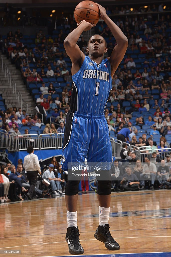 <a gi-track='captionPersonalityLinkClicked' href=/galleries/search?phrase=Doron+Lamb&family=editorial&specificpeople=7143029 ng-click='$event.stopPropagation()'>Doron Lamb</a> #1 of the Orlando Magic shoots a shot against the Charlotte Bobcats during the game on March 28, 2014 at Amway Center in Orlando, Florida.