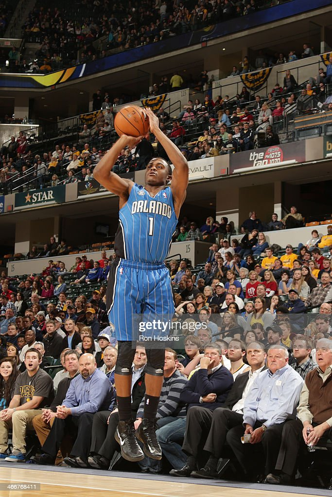 <a gi-track='captionPersonalityLinkClicked' href=/galleries/search?phrase=Doron+Lamb&family=editorial&specificpeople=7143029 ng-click='$event.stopPropagation()'>Doron Lamb</a> #1 of the Orlando Magic shoots the ball against the Indiana Pacers at Bankers Life Fieldhouse on February 3, 2014 in Indianapolis, Indiana.