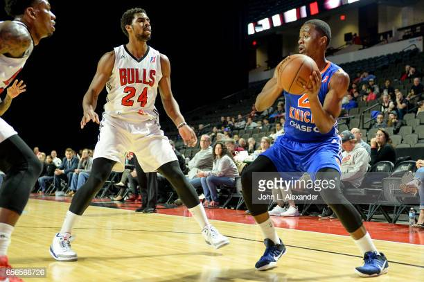Doron Lamb of the Westchester Knicks control the ball against the Windy City Bulls on March 21 2017 at the Sears Centre Arena in Hoffman Estates...